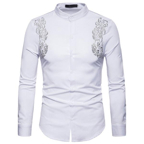 Ricami floreali Mens progettista delle camice a maniche lunghe Turn Down camice casuali della molla di stampa Mens Tees