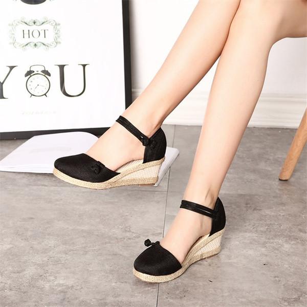 Chaussures FEE HUG Vintage Beijing Tissu Cale Femmes 2019 Printemps Été Brodé Mid Sandales Creuses Ankle Strap Plateforme Pompes
