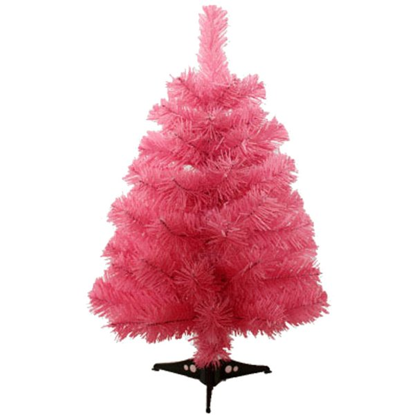 60cm Artificial Christmas Tree with Plastic Stand Holder Base for Christmas Home Party Decortaion (Pink)