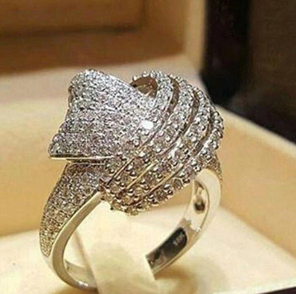 2019 Luxo Big CZ Zircon Anel De Pedra Para As Mulheres Charme Moda Anéis De Noivado De Casamento Tamanho 6-10