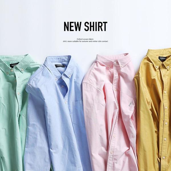 SIMWOOD Marca Men Shirts New 2019 Moda manga comprida 100% Pure blusa de algodão Slim Fit Plus Size escovado Oxford shirt 180569 T190918
