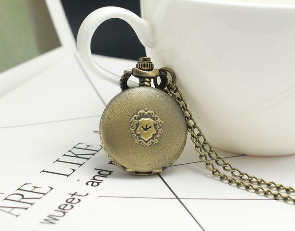 Antiker Bronzeschildquarzanhänger Geschenke für Kinder Halskette Taschenuhren Geschenk