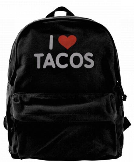 Eu amo Tacos Moda mochila Designer de Lona Para Homens Mulheres Adolescentes Faculdade Viagem Daypack Lazer saco Preto