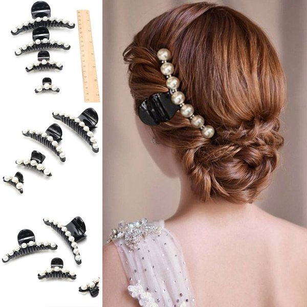 20PCS/Black Rhinestone Hairpins For Women Simulated Pearl Hair Clips Crab Hair Claws For Girls Barrettes Headwear Accessories