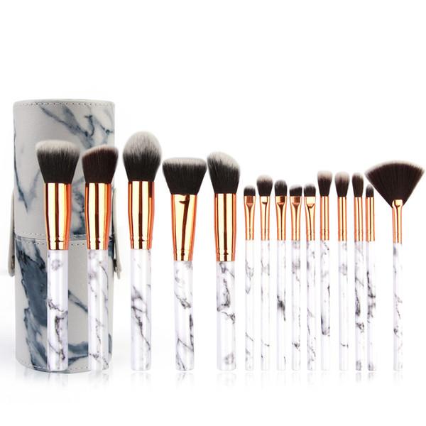 15pcs Makeup Brush Set +1 Cosmetic Barrel Bag Professional Face Eye Shadow Eyeliner Foundation Blush Lip Makeup Brushes
