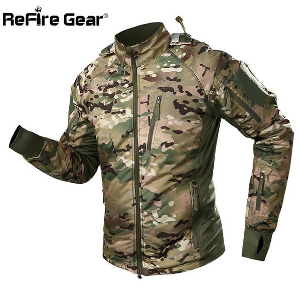 Refire Dişli Su Geçirmez Taktik Ceket Erkekler Bahar Kamuflaj Savaş Ceketler Ordu Sıcak Rüzgarlık Anti-Skid Kapşonlu Coat