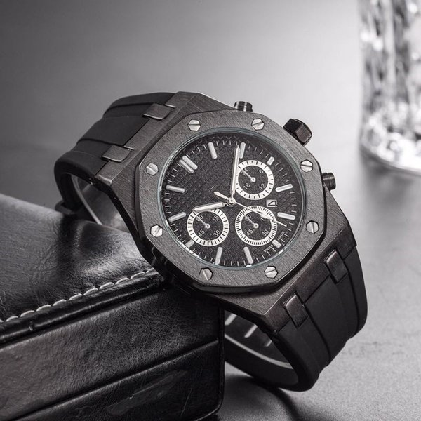Wholesale Cheap Price Mens Sport Wrist Watch 45mm Quartz Movement Male Time Clock Watch with Rubber Band offshore