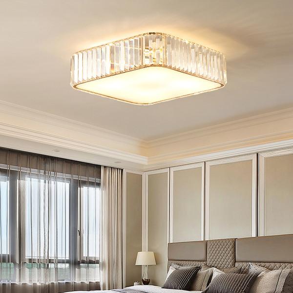 Modern crystal square ceiling chandelier lighting gold luxury crystal chandeliers light flush mount led ceiling lamp for bedroom study room