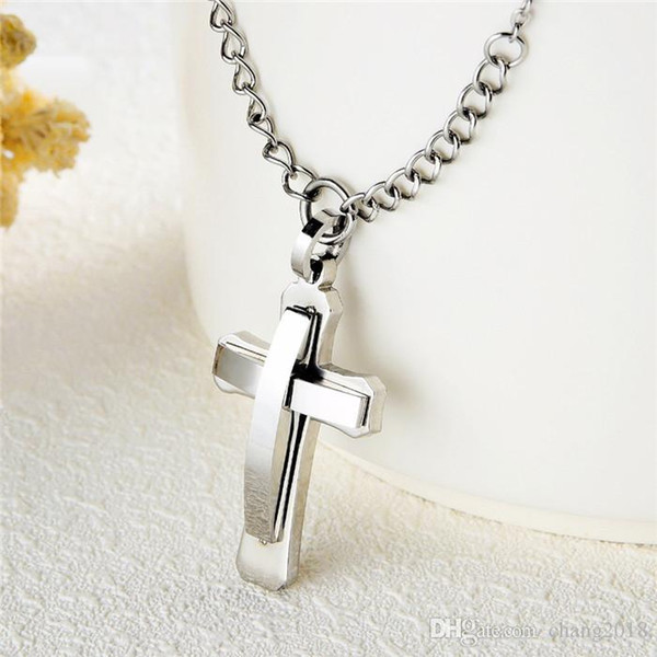 Simple Tone Cross Stainless Steel Pendant Chain Necklace for Men Women Lord's Prayer Blessing Religious Christian gjGX1451