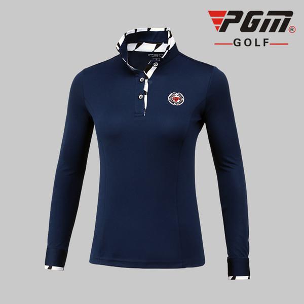 top popular Pgm Golf Women Long-Sleeve Polo Shirt Spring Autumn Slim Breathable Golf Tennis Shirts Ladies Patchwork Shirts AA60457 2019