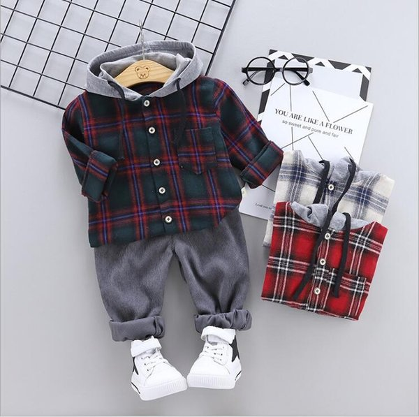 New Spring and Autumn Children's Suit of 2019 Two-piece Suit for 1-4-year-old Babies with Chequered Hat Guard Long Sleeves and Trousers