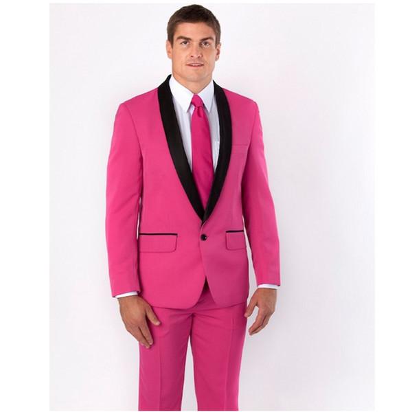 Nach Maß Neue Ankunft Groomsmen Schal Schwarz Revers Bräutigam Smoking Pink Männer Anzüge Hochzeit Trauzeuge