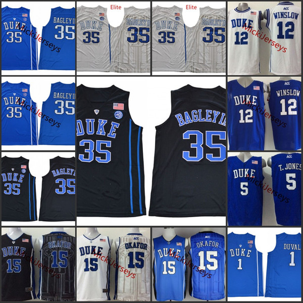 purchase cheap 15f72 168a3 2019 Mens Duke Blue Devils Jahlil Okafor Basketball Jersey 12 Justise  Winslow 5 Tyus Jones #1 Trevon Duval #35 Marvin Bagley III Duke Jersey S 3X  From ...