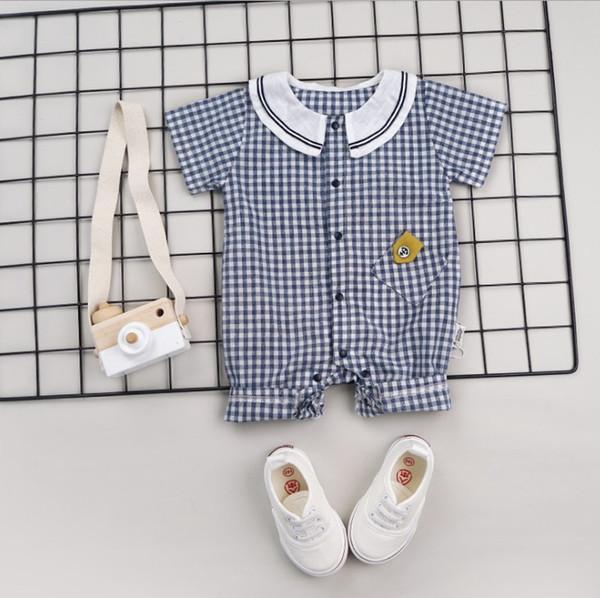 Kinder Designer Anzüge Sommer Strampler Heißer Verkauf Sommer Baby Kurzarm Jungen Kleidung Plaid Mädchen Overalls Unisex Kind Einteilige Overalls