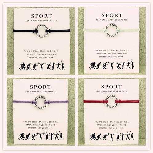 Großhandel Hot Schriftzug Volleyball Charme Grußkarte Armband Drop Vier Farbe Wachs Seil Für Das Beste Geschenk Eines Freundes Von Qilaijewelry 812