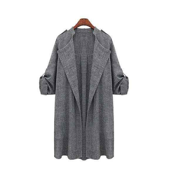 Spring Fashion Women Solid Long Sleeve Knitted Loose Long Slim jacket
