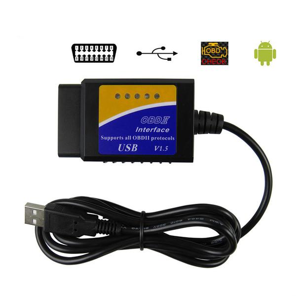 ELM327 USB V1.5 OBD2 Scanner de Interface de Diagnóstico Do Carro ELM 327 V 1.5 OBDII Ferramenta de Diagnóstico ELM-327 OBD 2 Scanner Leitor de Código