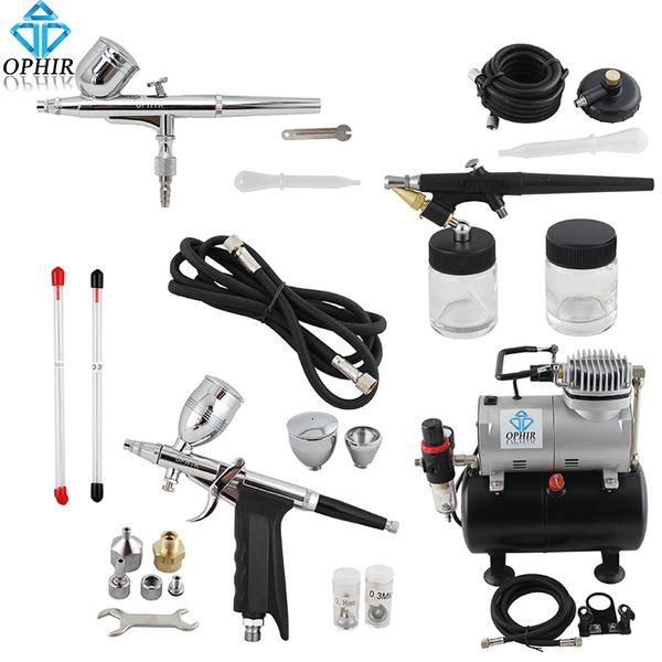 OPHIR Pro 0.3mm 0.5mm 0.8mm Kit de 3 aerógrafos con compresor de tanque de aire para Hobby Cake De Art Set _AC090 + 004A + 071 + 069