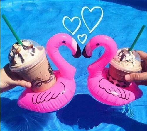 Inflatable Flamingo Drinks Cup Holder Pool Floats Bar Coasters Floatation Devices Children Bath Toy 500 p