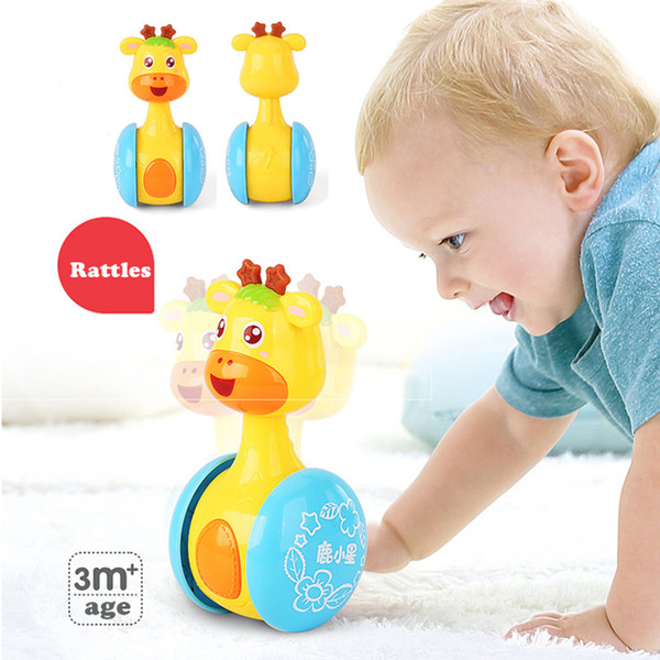 Baby Deer Rattles Roly-Poly Bicchiere Giocattoli Bambola ABS Sweet Bell Music Music Learning Learning Giocattoli per bambini