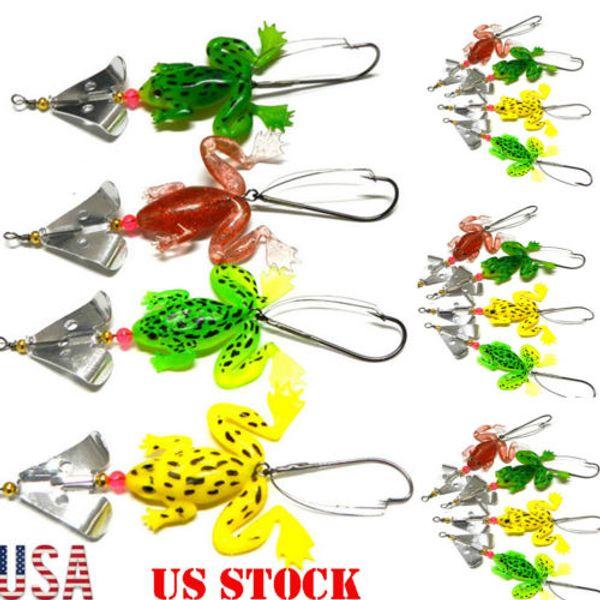 4pcs Lot Pêche Leurres Crankbaits Crochets Frog Swimbait doux Lure Pêche à la mouche leurres de pêche Lure