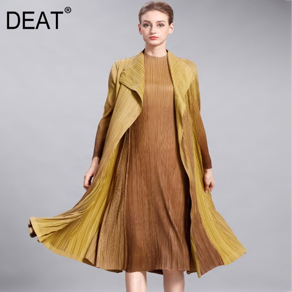 [DEAT] 2019 Summer New Pattern Streetwear Style Full Sleeve Solid Color Fashion Pleated Slim Open Stitch Long Length Coat AI266