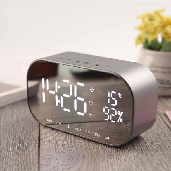 heap Desk & Table Clocks Digital LED Clock Multifunctional Noiseless LED Mirror Clock Display Time / Temperature Electronic Desk Tabl...