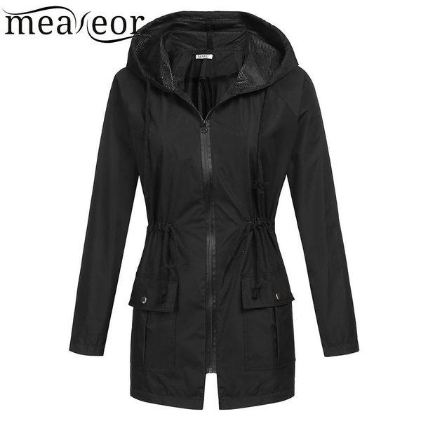 Women Casual Waterproof Lightweight Hooded Raincoat Rain Jacket Zipper Solid Regular Long Sleeve Navy Blue Yellow Black