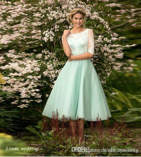 2019 Mint Green Junior Bridesmaid Dress New Lace Tea Length Short Lace  Country Bridal Party Dress Plus Size Vestido De Festa De Casamento Plus  Size ...