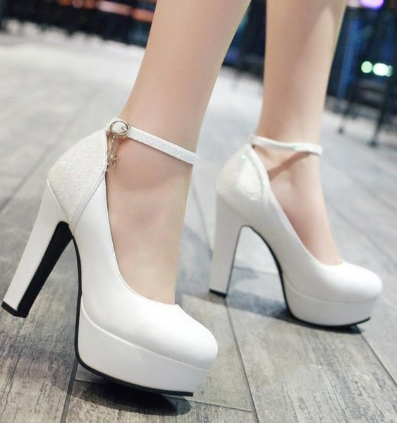 Plus size 35 to 40 41 42 43 12cm sexy high heel wedding dress shoes prom gown shoes pink bleu black white