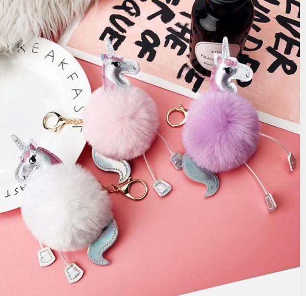 Unicorn keychain Artificial pompoms beauty gift ball key chain women bag car keyring porte clef holder fluffy