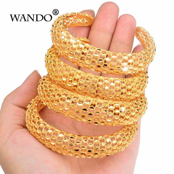 WANDO 4PCS/Lot Ethiopian Bride Bangle for Women Gold Color Wholesale Dubai Bracelet African Arab Jewelry Fancy Gift B150