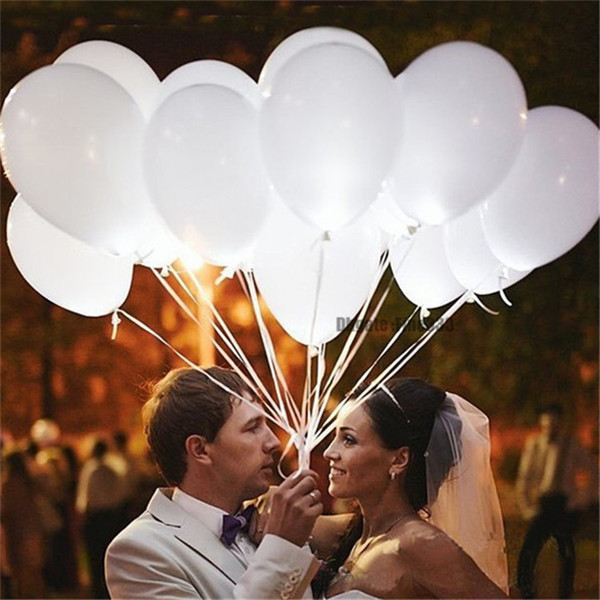 top popular 12inch White Led Flash Balloons Illuminated LED Balloon glow birthday party supplies Wedding Decoration powered by Battery 2021