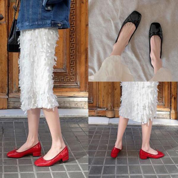 Korean Style Frauen Damen Flacher Mund Lackleder Pumps Schuhe, Square Toe Butterfly-knot Design Med Heels Plateauschuhe