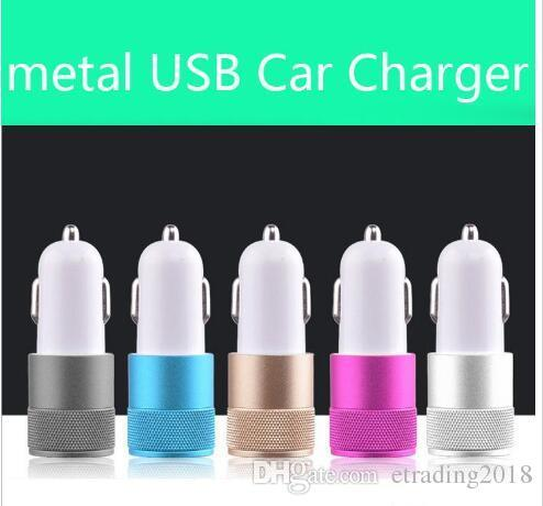 Metal Dual USB Port Car Charger Universal 12 Volt / 1 ~ 2 Amp for Apple iPhone iPad iPod / Samsung Galaxy / Motorola Droid Nokia Htc
