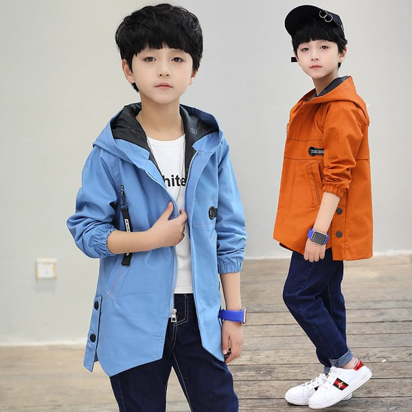 Big Kids Jacketa Boy Coat 2019 Autumn Boys Jacket Hooded Outerwear Children Fashion Trench Coat