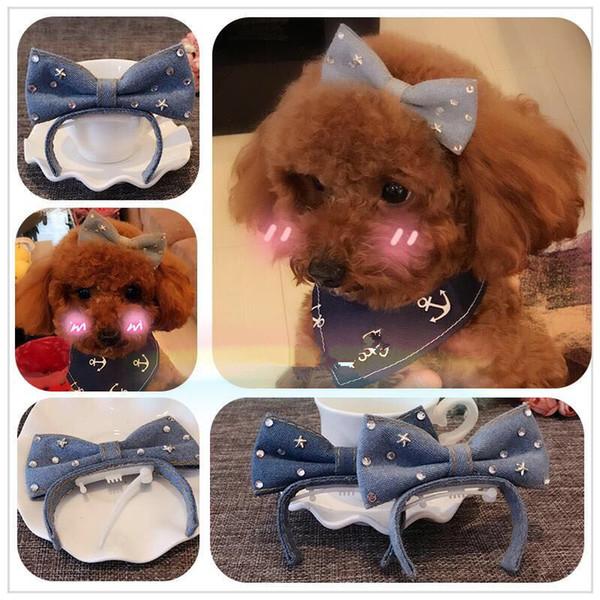 2019 Pet Puppy Diamond Hair Clip Teddy Bear Headwear Yorkshire Dogs Jewelry Top Clip Accessories Headband Frog Clip Yorkshi