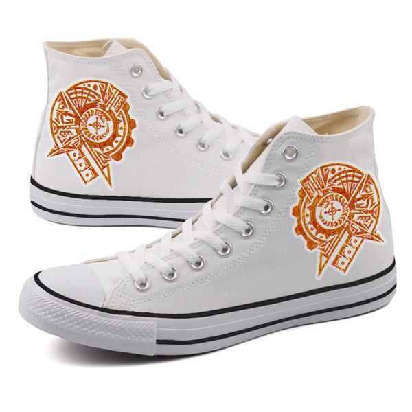 Vintage Magical Circle Design Men Boys Casual Canvas Shoes High Top Students Flat Board Shoes Outdoor Espadrille Zapatillas