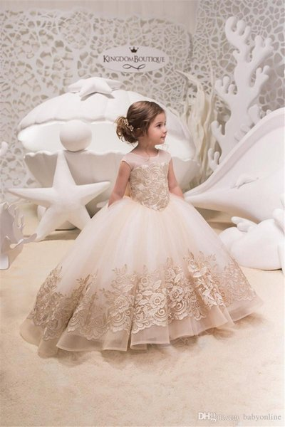 Blush Pink Flower Girl Dresses Holiday Bridesmaid Wedding Party Birthday Little Girl Cute Tulle Lace Flower Girl Dress Formal Occasion