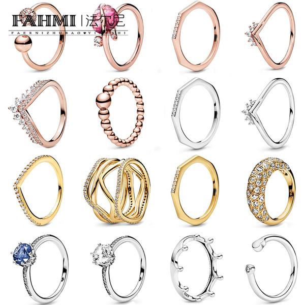 Fahmi 100% 925 d'argento 2019 autunno Anteprima brillare Poliedrico Anello della Rosa Tiara Wishbone Anello Chiaro anello scintillante corona
