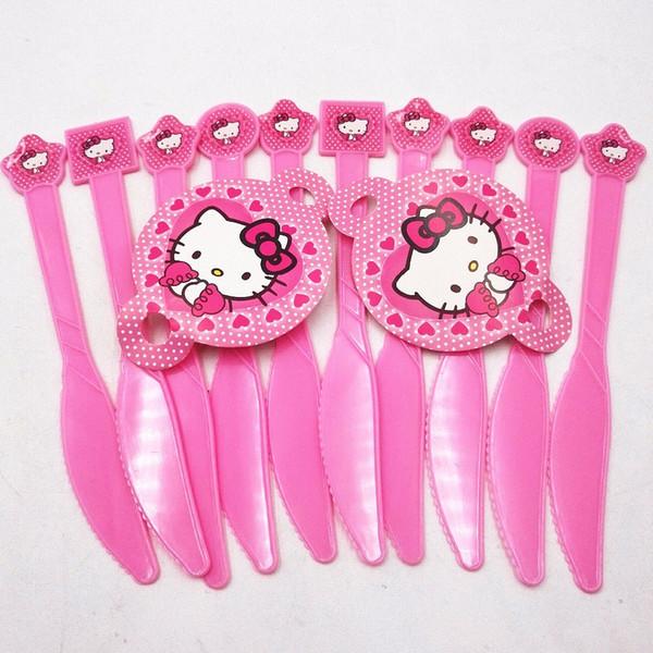 10pcs/set Hello Kitty Party Supplies Knifes Birthday Christmas Festival Hellokitty Party Decoration Cartoon Theme Favors