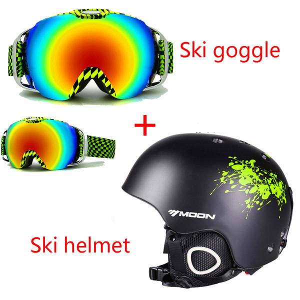 Moon Ski casco + gafas de doble capa Esquí de esquí moldeado integralmente / Snowboard / Skate / Skateboard / Veneer Helmet + antivaho gafas