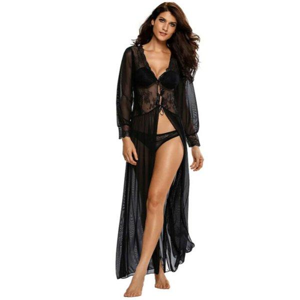 2019 Женская мода купальный костюм Кружева цветочные бикини Cover-Ups Прозрачный длинный рукав кардиган топы Swimwear пляж платье
