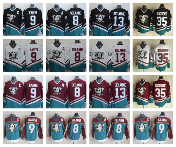 Best Quality Vintage Anaheim Mighty Ducks 8 Teemu Selanne Hockey Jerseys 9 Paul Kariya 35 Jean-Sebastien Giguere 13 Selanne 1998 CCM Jersey