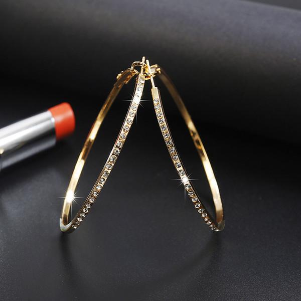 Fashion Hoop Earrings With Rhinestone Circle Earring Simple Earrings Big Circle Gold Color Loop Earrings For Women