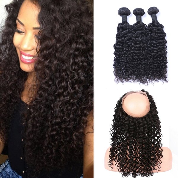 9A Pre Plucked Brazilian Jerry Curly Human Hair Weaves With 360 Lace Band Frontal Virgin Human Hair With Bady Hair 4pcs/lot