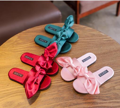 Baby Silk Big bow sandals 2019 summer Fashion Kids Slipper children girls shoes