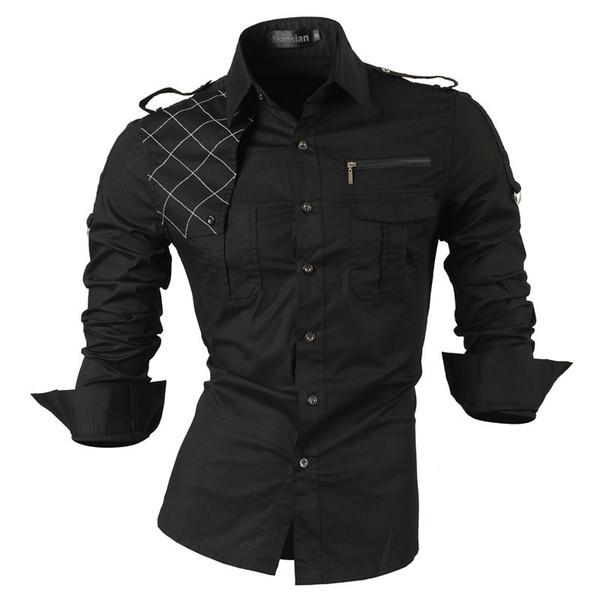 2019 New Fashion Casual Slim Fit Long-sleeved Men's Dress Shirts Korean Styles Cotton Shirt 8371 C19041701