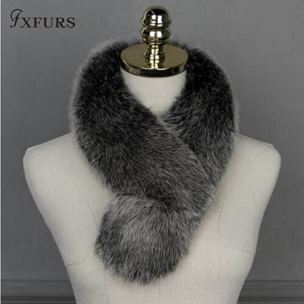 FXFURS New Brand Real fox Fur Collar Scarf Womens Shawl Wraps Shrug Neck Warmer Black Stole Wholesale Ring Scarf with Clamp D19011004