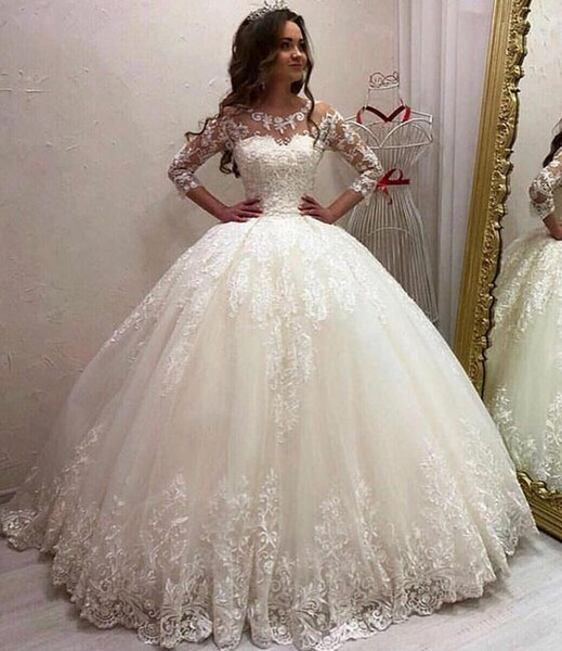 2019 Gorgeous Dubai Arabic High Quality Ball Gown Wedding Dresses Plus Size  Lace Bridal Gowns Long Sleeves Custom Made Vestidos De Novia Floor Length  ...
